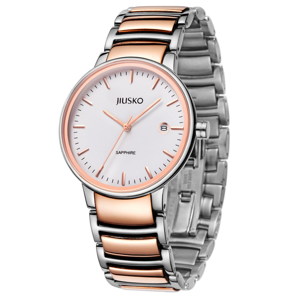 Jiusko Watch,Men's-Women-Dress-Fashion-Quartz-Two Tone Stainless Steel-50m-181MSRG01.2