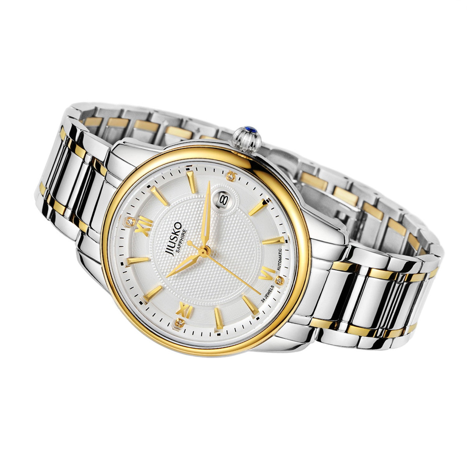 Jiusko Watch,Men's-Dress-Fashion-Automatic-Two Tone Tungsten-100m-203LSBG01