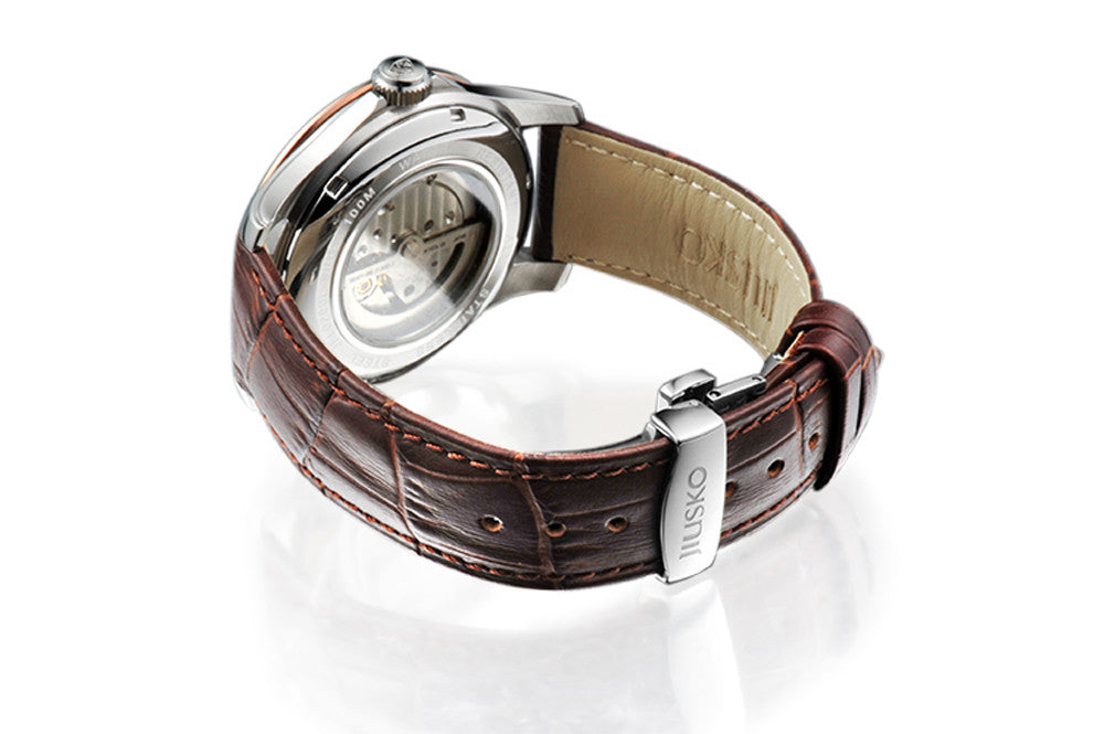 Jiusko Watch,Men's-Dress-Fashion-Automatic-Leather-100m-206LSRG0107