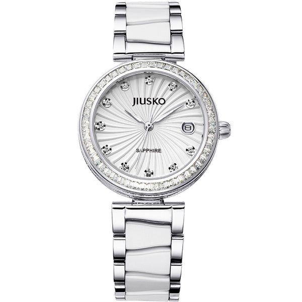 Jiusko Watch,Women's-Dress-Fashion-Ceramic-Stainless Steel-Quartz-50m-41MY01