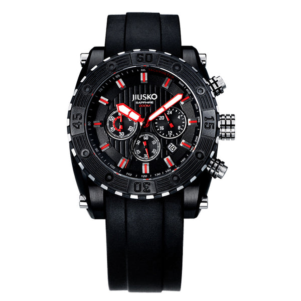 Jiusko Watch,Men's-Sport-Casual-Chronograph-Multi-Function-Quartz-Silicone-300mm-51LB11