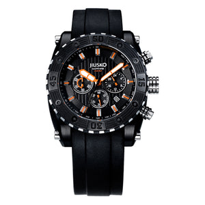 Jiusko Watch,Men's-Sport-Casual-Chronograph-Multi-Function-Quartz-Silicone-300mm-51LB12