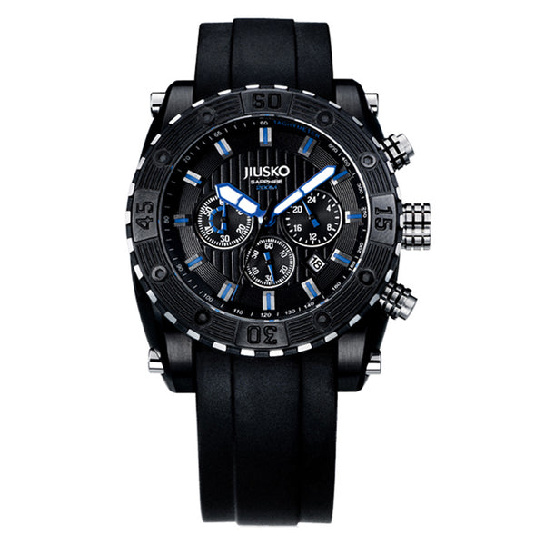 Jiusko Watch,Men's-Sport-Casual-Chronograph-Multi-Function-Quartz-Silicone-300mm-51LB13