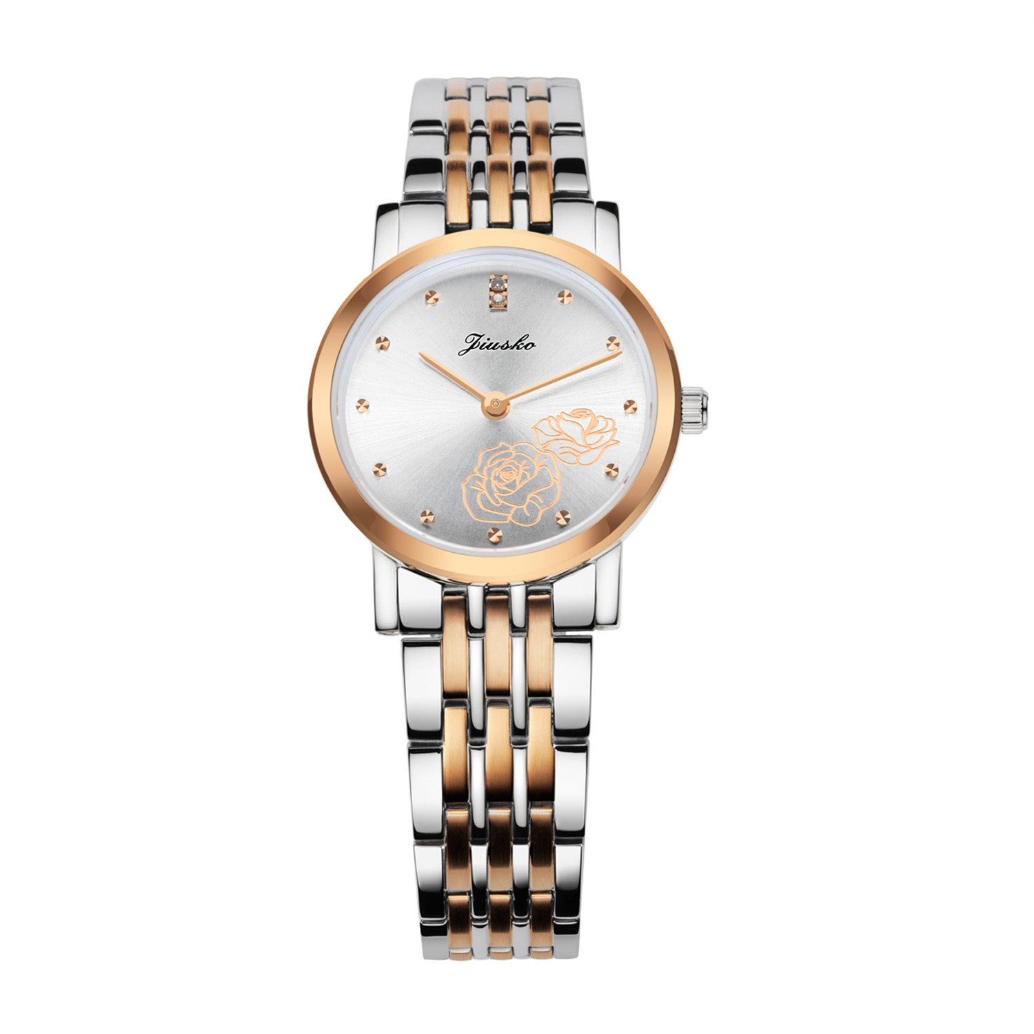 Jiusko Watch,Men's-Women-Dress-Fashion-Quartz-Two Tone Stainless Steel-50m-520MS-SRG01