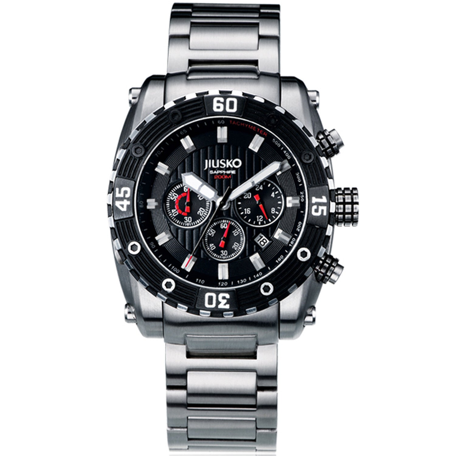 Jiusko Watch,Men's-Sport-Casual-Chronograph-Multi-Function-Quartz-Stainless Steel-300mm-52LSB02