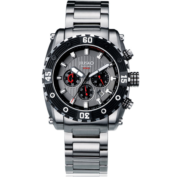 Jiusko Watch,Men's-Sport-Casual-Chronograph-Multi-Function-Quartz-Stainless Steel-300mm-52LSB03
