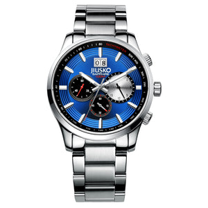 Jiusko Watch,Men's-Sport-Casual-Chronograph-Multi-Function-Quartz-Stainless Steel-Tachymeter-100m-59LS08