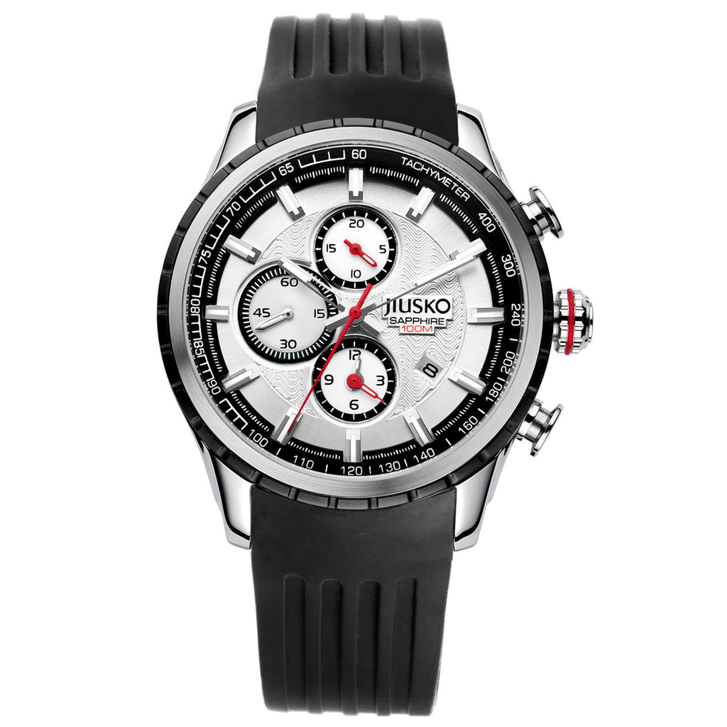 Jiusko Watch,Men's-Sport-Casual-Chronograph-Multi-Function-Quartz-Silicone-Tachymeter-100m-60LSB01