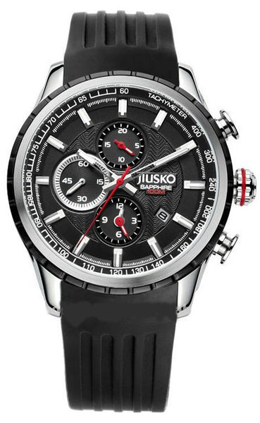 Jiusko Watch,Men's-Sport-Casual-Chronograph-Multi-Function-Quartz-Silicone-Tachymeter-100m-60LSB02