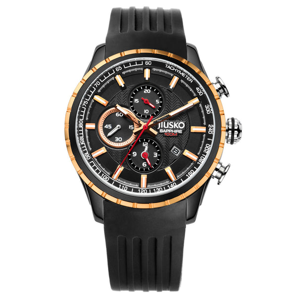 Jiusko Watch,Men's-Sport-Casual-Chronograph-Multi-Function-Quartz-Silicone-Tachymeter-100m-60LBRG02