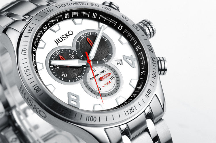 Jiusko Watch,Men's-Sport-Casual-Chronograph-Multi-Function-Quartz-Stainless Steel-Tachymeter-100m-63LS01