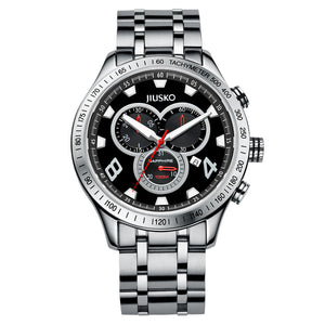 Jiusko Watch,Men's-Sport-Casual-Chronograph-Multi-Function-Quartz-Stainless Steel-Tachymeter-100m-63LS02