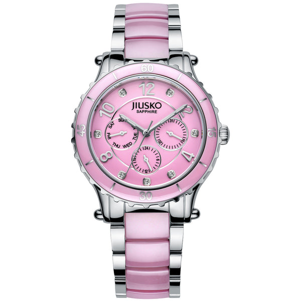 Jiusko Watch,Women's-Dress-Fashion-Ceramic-Stainless Steel-Quartz-Multi-Function-50m-83LSP04