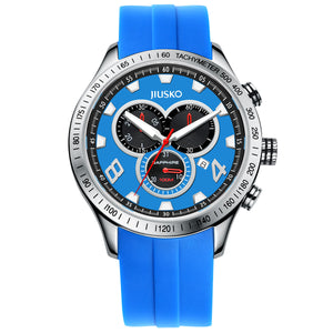 Jiusko Watch,Men's-Sport-Casual-Chronograph-Multi-Function-Quartz-Silicone-Tachymeter-100m-85LS0808