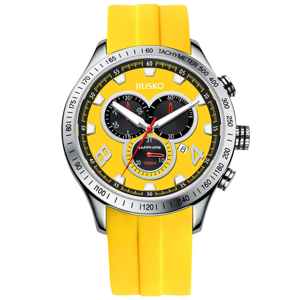 Jiusko Watch,Men's-Sport-Casual-Chronograph-Multi-Function-Quartz-Silicone-Tachymeter-100m-85LS1010