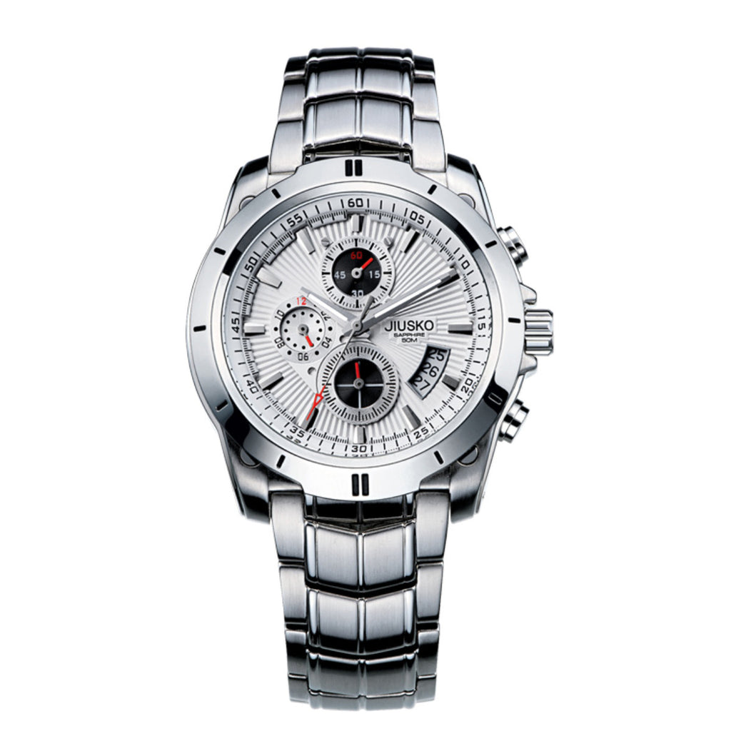 Jiusko Watch,Men's-Sport-Casual-Chronograph-Multi-Function-Quartz-Stainless Steel-Tachymeter-50m-9LS01