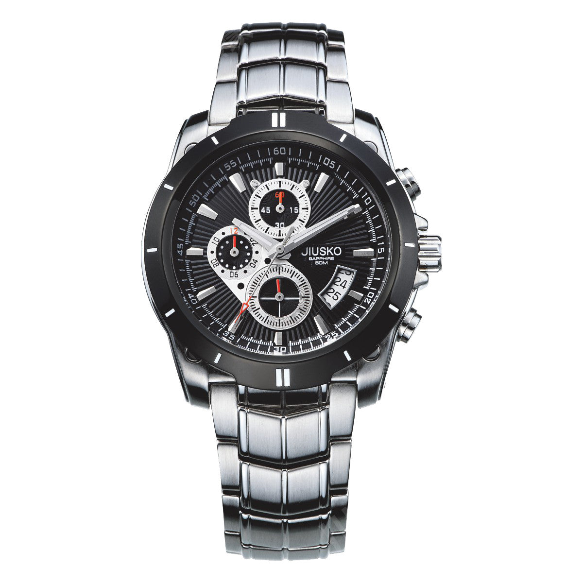 Jiusko Watch,Men's-Sport-Casual-Chronograph-Multi-Function-Quartz-Stainless Steel-Tachymeter-50m-9LSB02