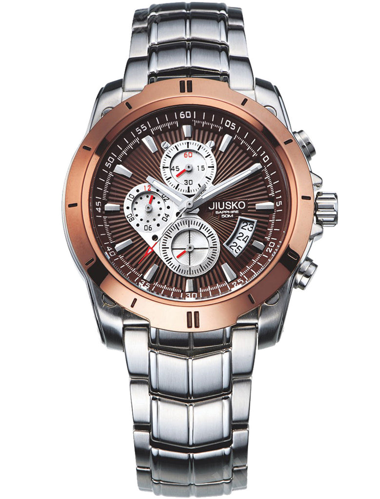Jiusko Watch,Men's-Sport-Casual-Chronograph-Multi-Function-Quartz-Stainless Steel-Tachymeter-50m-9LSC07