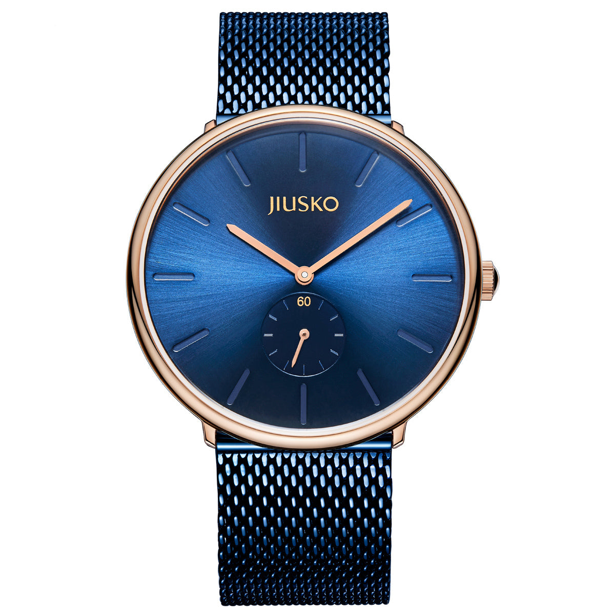 Men's Quartz Wrist Watches - Blue Steel Mesh - Rose Gold - 393L-AZ1RBB