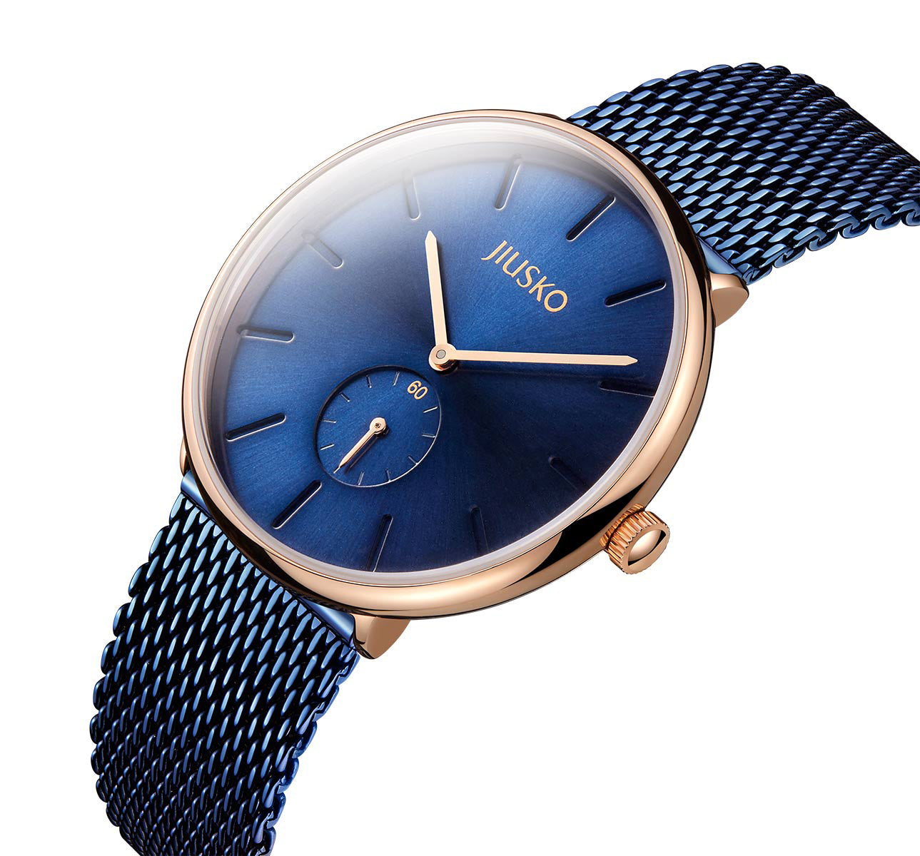 The Camelot - Men & Women Couples Quartz Wrist Watches - Blue Steel Mesh - Rose Gold - 393LS-AZ1RBB
