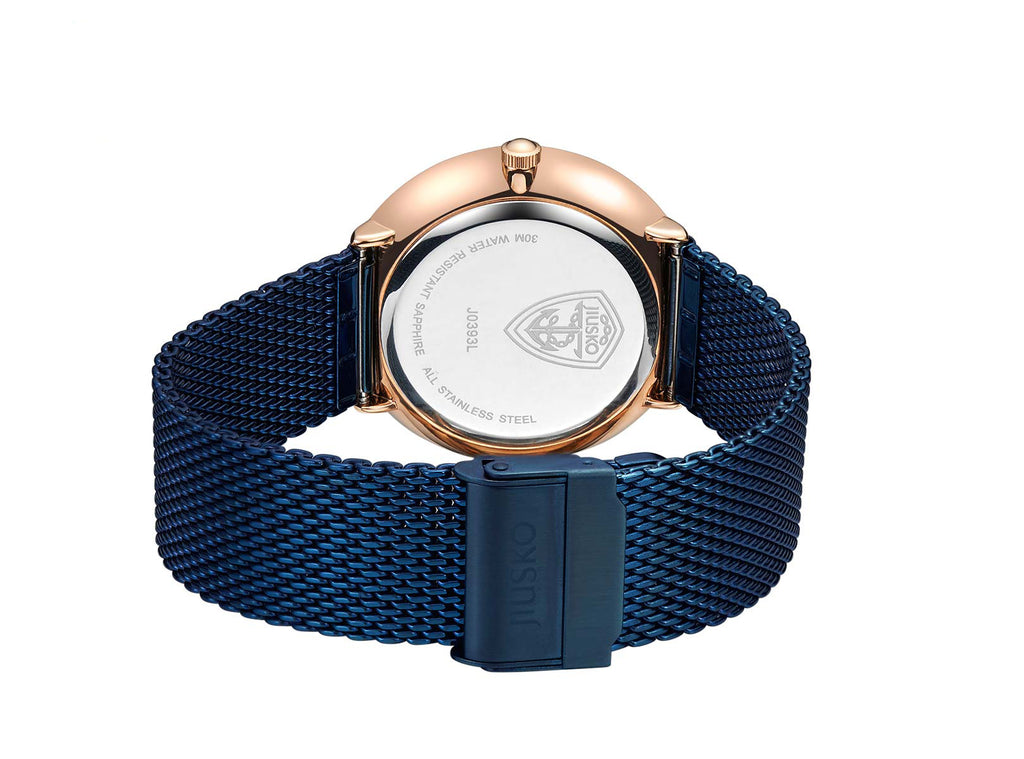 Men & Women Couples Quartz Wrist Watches - Blue Steel Mesh - Rose Gold - 393LS-AZ1RBB