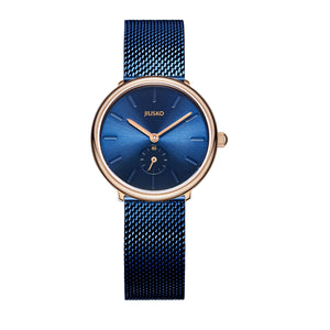 Women's Quartz Wrist Watches - Blue Steel Mesh - Rose Gold - 393S-AZ1RBB