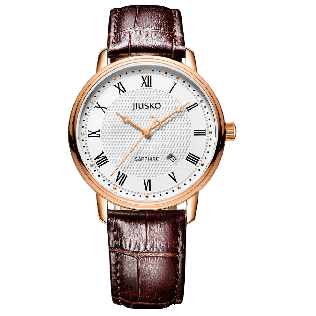 Jiusko Sapphire - His Hers Couples Watches Gift Set - Brown Leather Strap - Rose Gold, 281LMRG0107