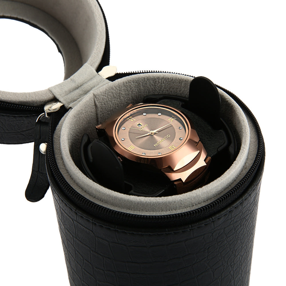 Black Auto Silent Watch Winder Cylinder Shape Wristwatch Box with EU Plug