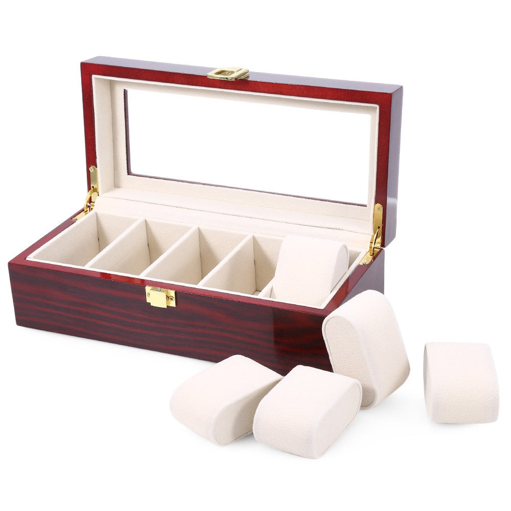 High Quality Watch Boxes 5 Grids Wooden Watch Display Piano Lacquer Jewelry Storage Organizer Jewelry Collections Case Gifts