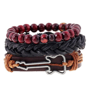 Fashion Trendy Punk Weave Wrap Strand Women anchor Genuine Leather Bracelets Men Cuff Jewelry Accessories