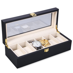 Watch Box 6 Slots Wood Watch Display Case Watches Box Glass Top Jewelry Storage Organizer Holder Clock Case Boxes