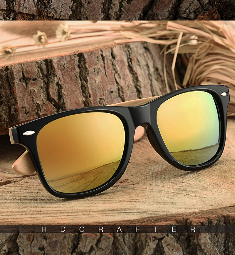 Retro Wood Men Bamboo Sunglasses Women Brand Design Goggles Unisex Sun Glasses with case