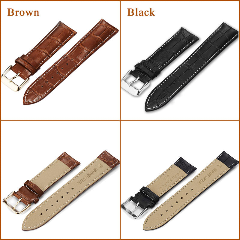100% Genuine Leather Watch Band Strap  20mm 22mm 24mm Brown Black Woman Man Watchbands Watch Belts  High Quality  OUYAWEI