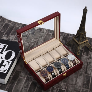 Luxury 10 Grids Solid Red Wooden Watch Box Jewelry Display Organizer Case Watches Storage Box