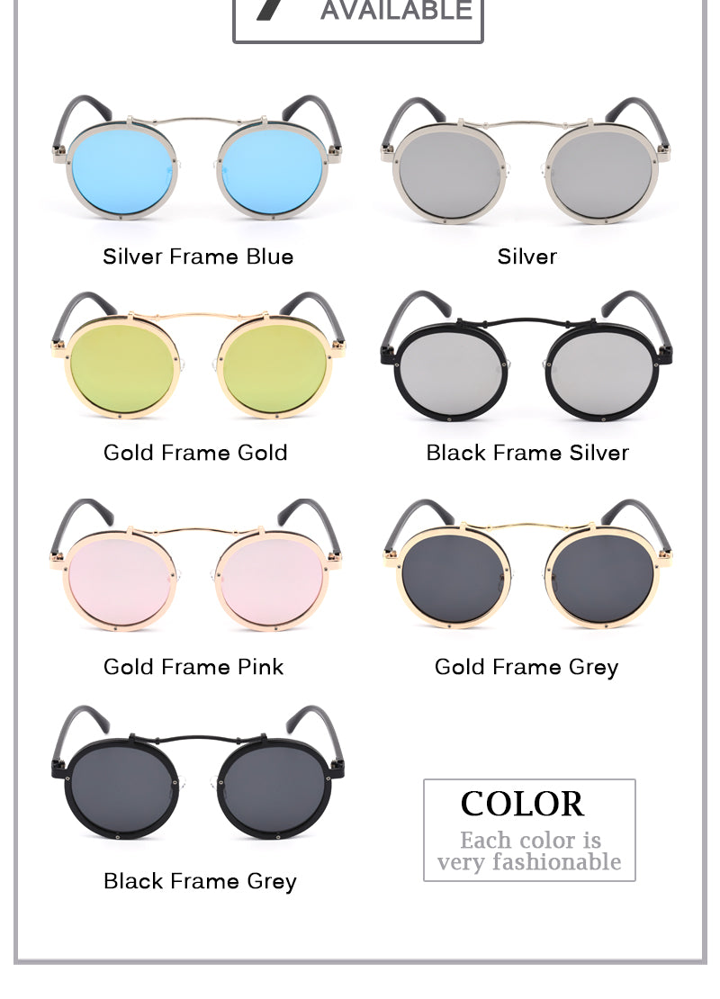 Steampunk Sunglasses Men Women Metal Wrap Eyeglasses Round Shades Brand Designer Punk Sun Glasses Mirror