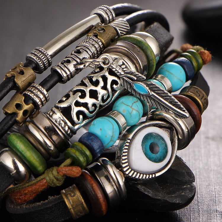 Tibet Stone Feather Multilayer Leather Bracelet Eye Fish Anchor Charms Beads Bracelets for Men Punk Wrap Wristband