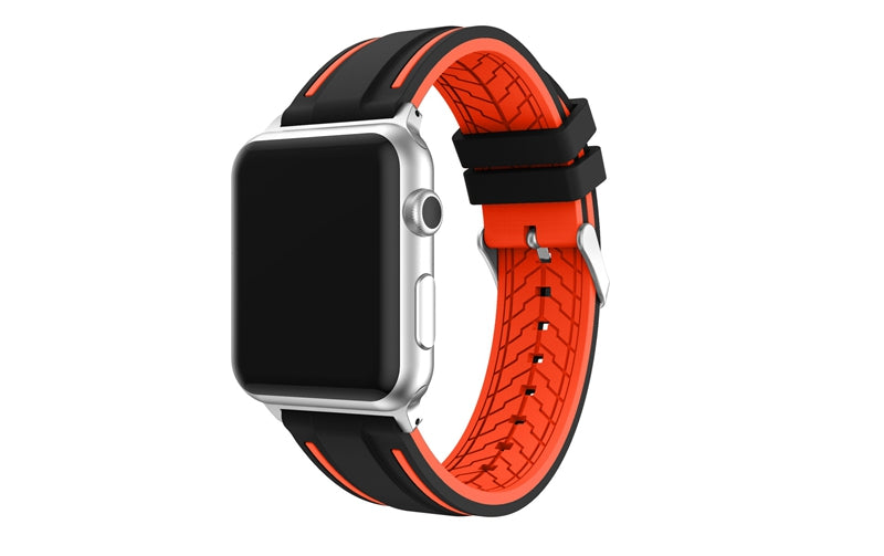 URVOI band for apple watch series 1 2 3 sport strap for iWatch Soft Silicone Replacement band + stainless steel adapters 38 42mm