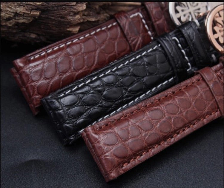 Alligator Strap Genuine Leather Watch Band Steel Deployment Clasp Beautiful Crafted