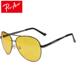 Pro Acme Aviation Night Vision glasses Driving Yellow Lens Classic Anti Glare Vision Driver Safety glasses For Men
