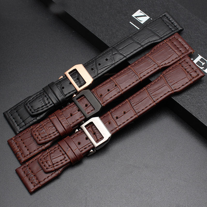 2017 NEW Style 22mm Alligator Grain Strap Embossed Genuine Leather Watch Band Top Quality Genuine Leather Watch Strap+Free tools