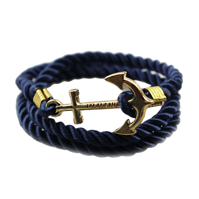 Vintage Woven Multilayer Anchor Bracelets & Bangles For Women Men Jewelry Trendy Rope Bracelet New Hot Brand Accessories