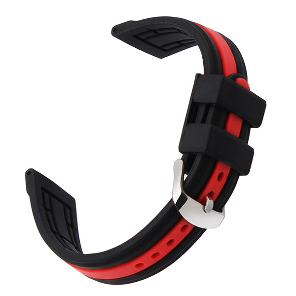 Silicone Rubber Watchband 19mm 20mm 21mm 22mm 23mm 24mm Universal Watch Band Wrist Strap Sports Belt Bracelet Black Red + Tool