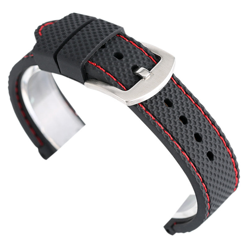 Silicon Watch Band Strap 18mm 20mm 22mm 24mm Rugged Skin Red White Stitch Wriststrap Soft Watchband Rubber Relojes Hombre 2017