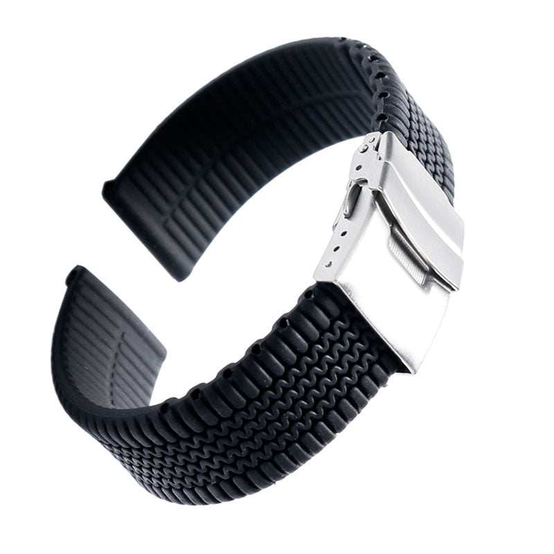 1pcs 20mm 22mm 24mm Black Silicone Watchband Rubber Fold Clasp with Safety Bracelet Wrist Strap Light Soft for Men Sport Watch