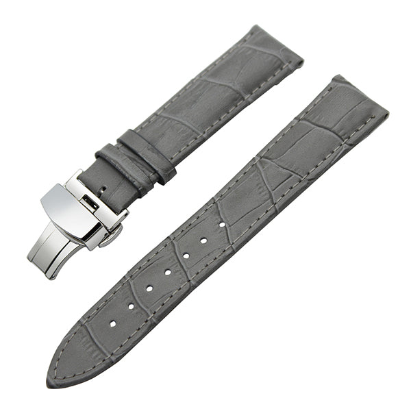 Genuine Leather Watchband Butterfly Buckle Strap for IWC Men Women Watch Band Wrist Belt Bracelet Grey Black 19mm 20mm 21mm 22mm