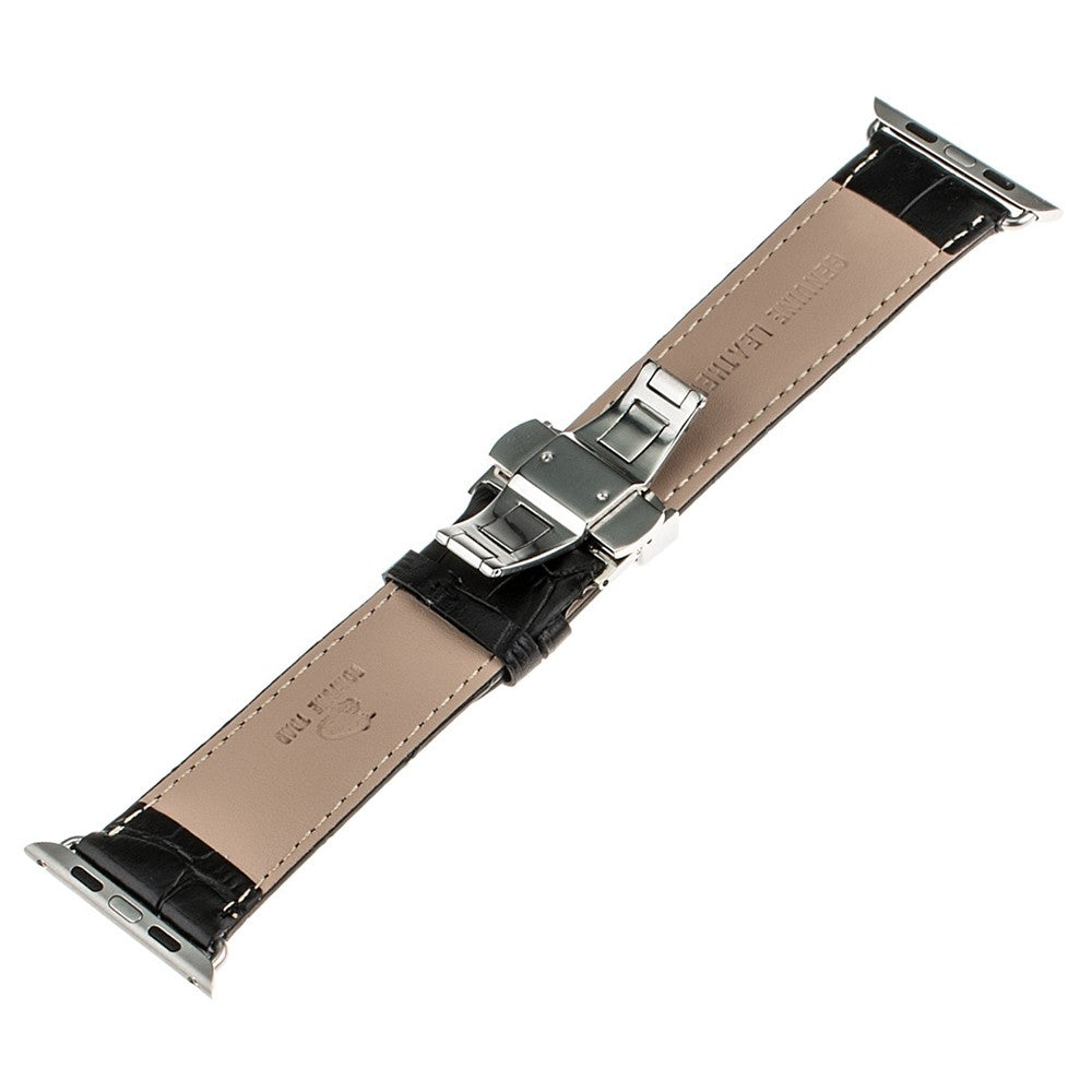 Genuine Leather Watchband Alligator Grain for iWatch Apple Watch 38mm 42mm Stainless Steel Butterfly Clasp Band Strap Bracelet