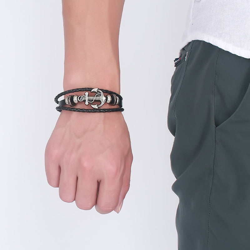 Simple Fashion Men Bracelet Retor Leather Braided Strap Alloy Ship Anchor Decorate Man Hand Chain Jewelry Accessories