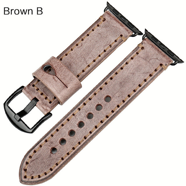WASHED LOOK LEATHER STRAP FOR APPLE WATCH