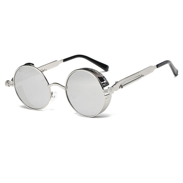 Metal Round Steampunk Sunglasses Men Women Fashion Glasses Brand Designer Retro Frame Vintage Sunglasses High Quality