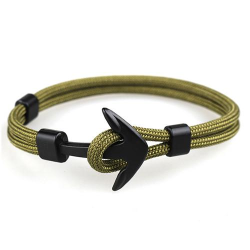 Fashion Black Anchor Bracelets Men Charm 550 Survival Rope Chain Paracord Bracelet Male Wrap Metal Sport Hooks